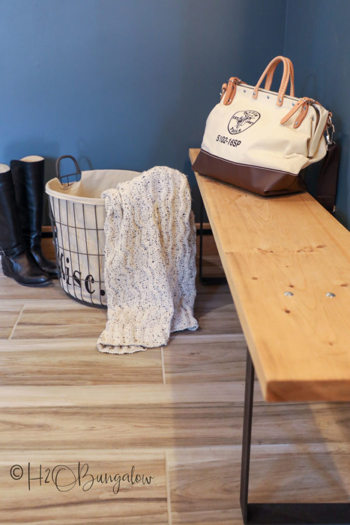 DIY mudroom bench in hallway