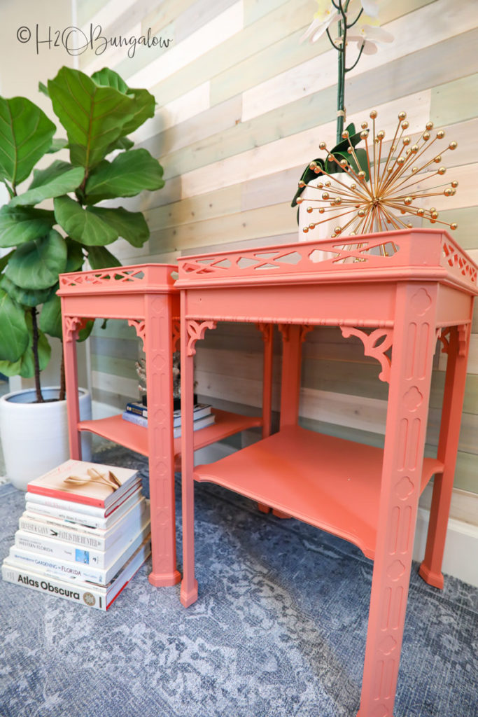 finished coral painted furniture that used to be dark wook