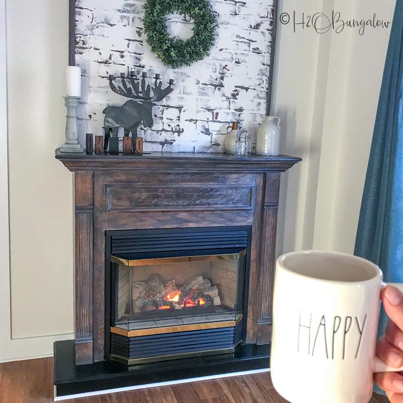 cozy winter fireplace