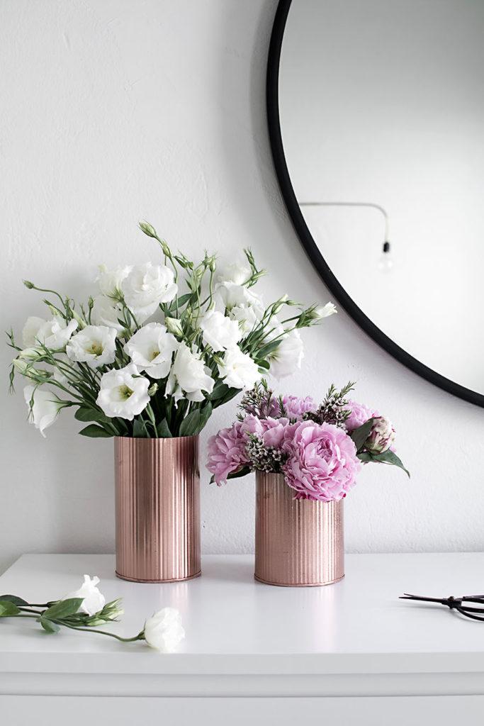 painted faux metal vases