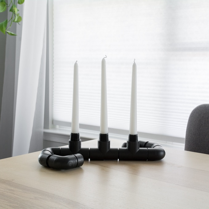 spray painted candlestick holder