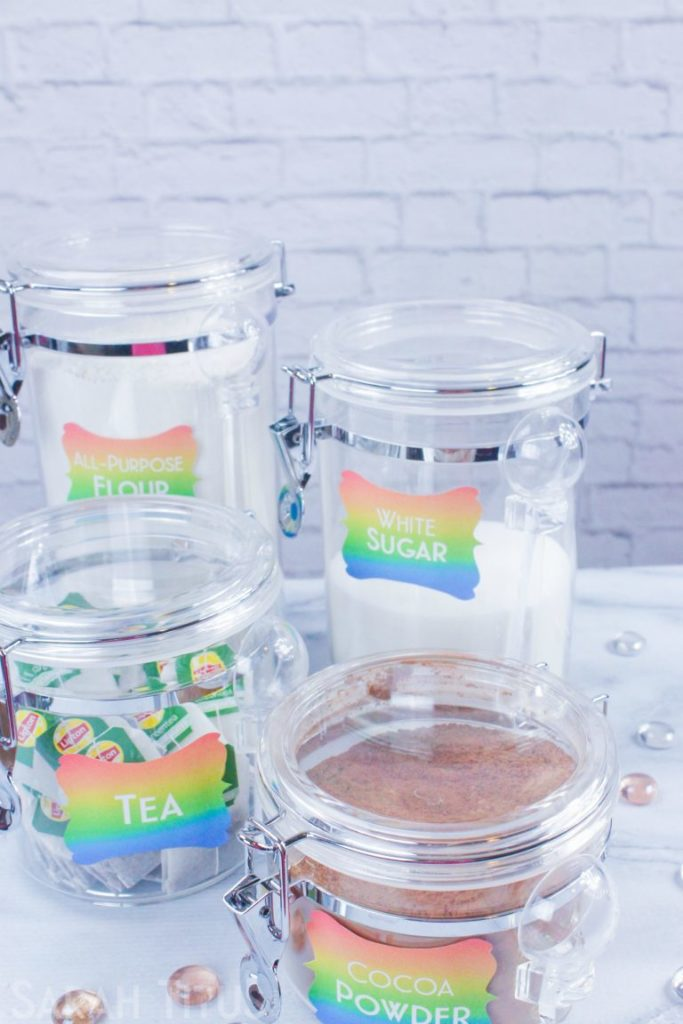 rainbow labels for kitchen canisters