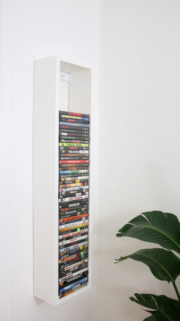 dvd storage on wall