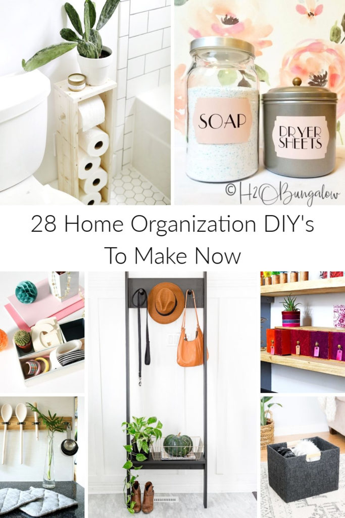 28 creative budget friendly DIY home organization ideas you can make today. Easy to make and useful home storage and organization hacks to reduce clutter in all areas of your home. #organize #clutterfree #storageideas #h2obungalow