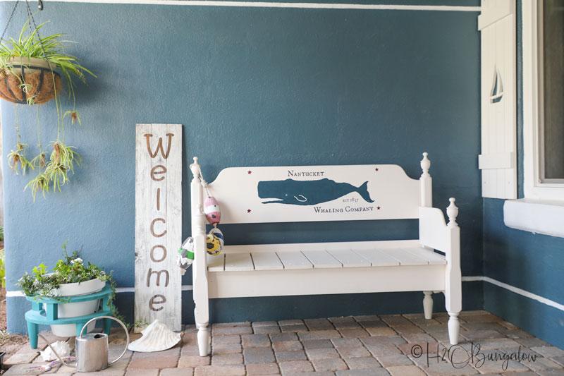 front porch painted bench