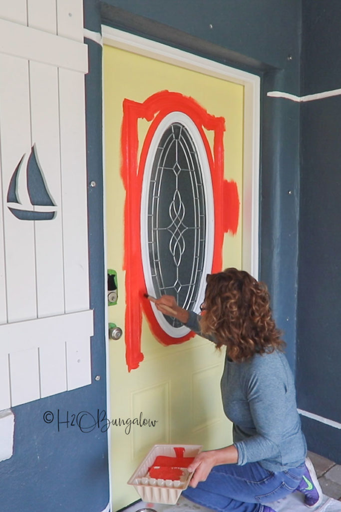 painting trim on front door