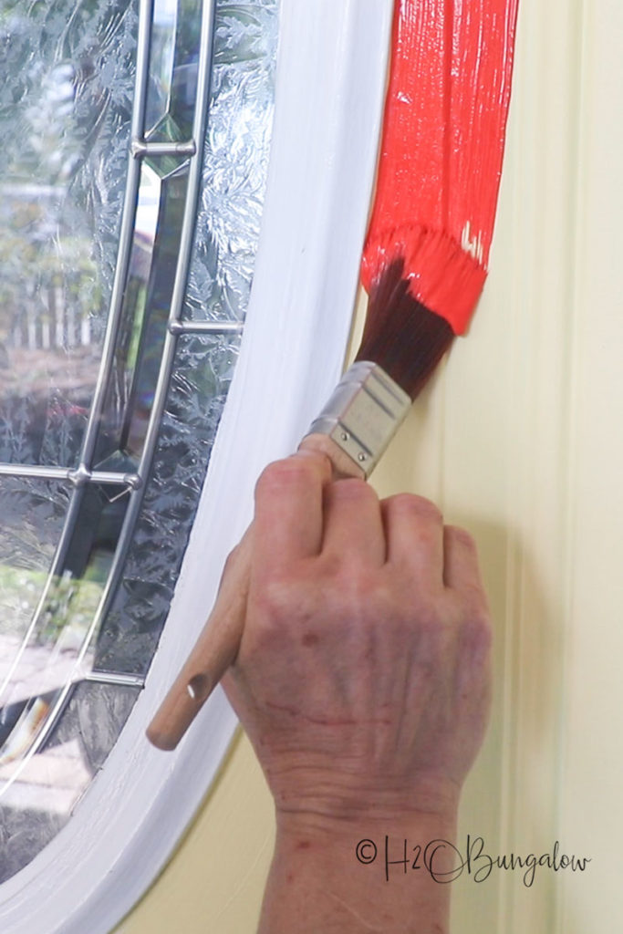 cutting in paint trim on a front door