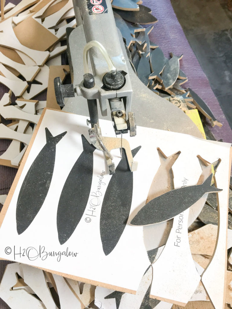 cutting out templates glued to board