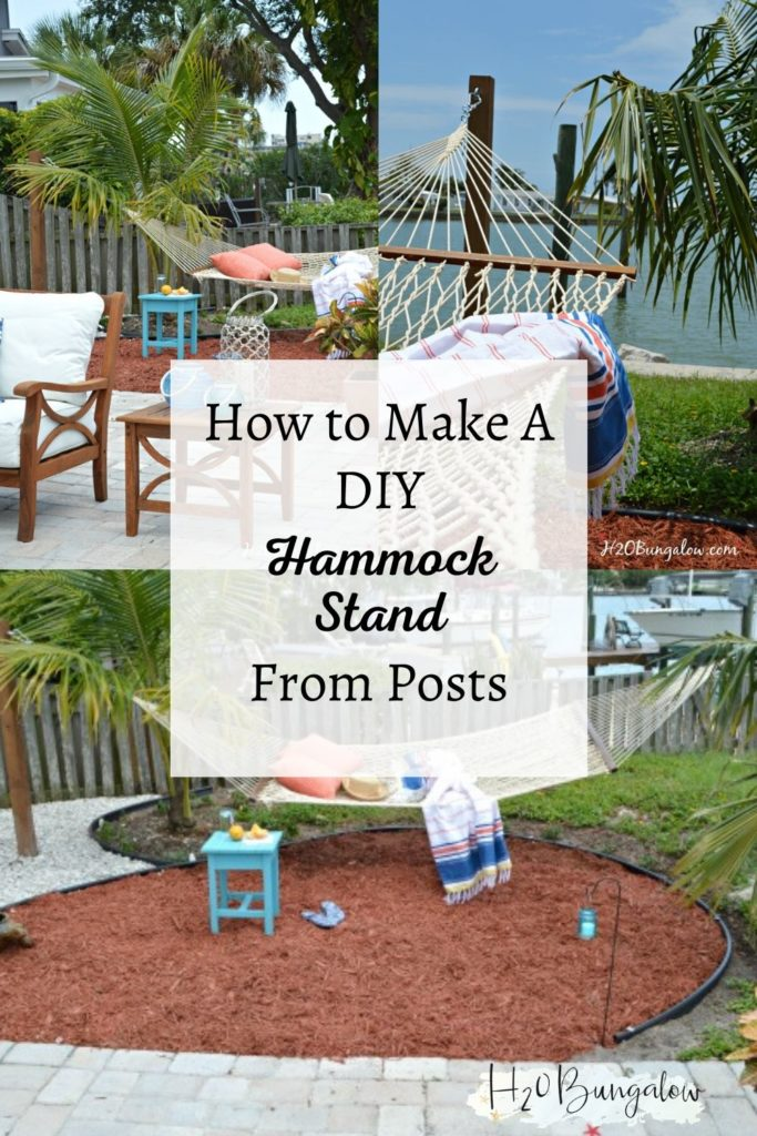 collage of images of DIY hammock stand to pin to Pinterest