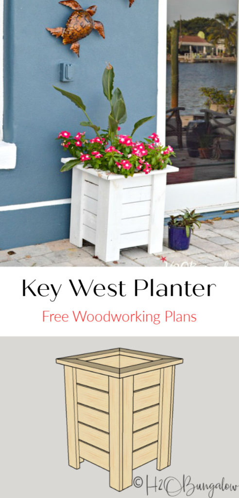 Wooden planter box plans in a pdf to download free. It's easy to modify the height or width of this Key West Style DIY wood planter to fit your space. #freewoodworkingplans #woodplanter #gardening