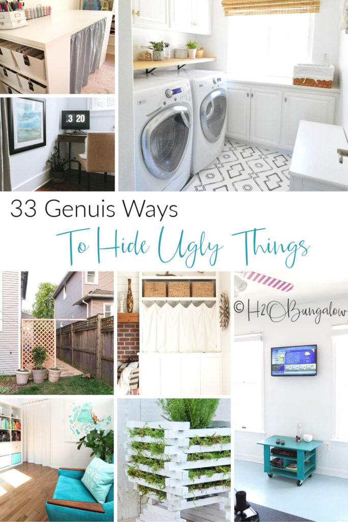 33 creative ways to hide ugly things in your home, inside and out! Try these easy and smart DIY ideas to hide ugly eyesores in your house and yard. #hidestuff #declutter