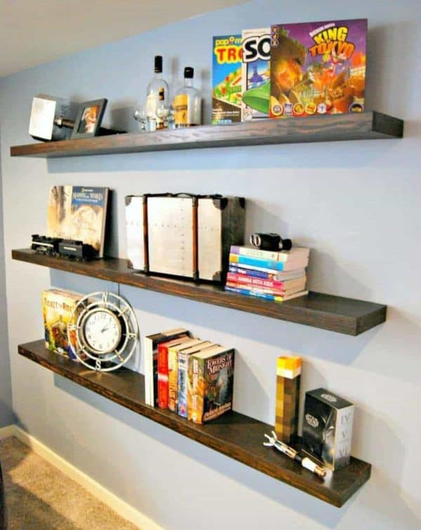 floating shelves in front of wall