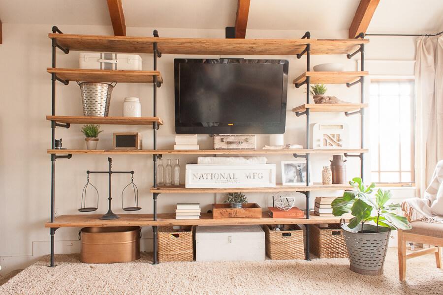 pipe shelves hide cords