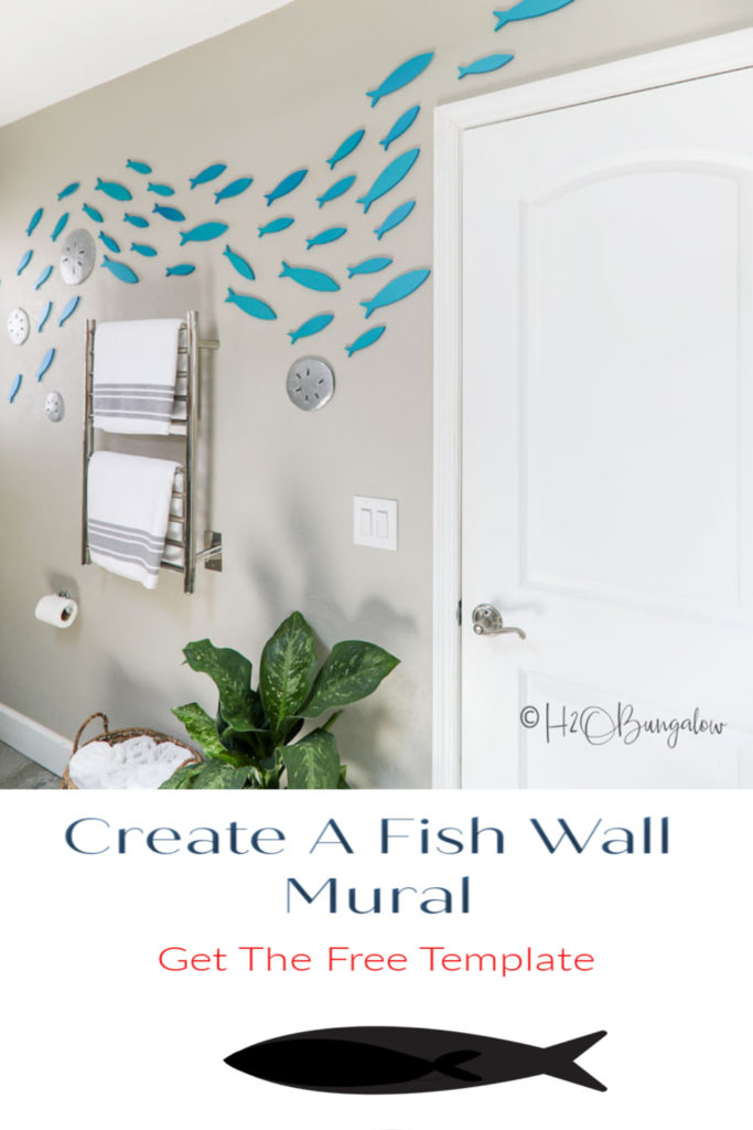 How to make a school of fish wall decor with wooden cutout fish and a free set of free fish templates in different sizes with tips to place them on the wall #fishdecor #coastaldecor #beachstyle #H2OBungalow