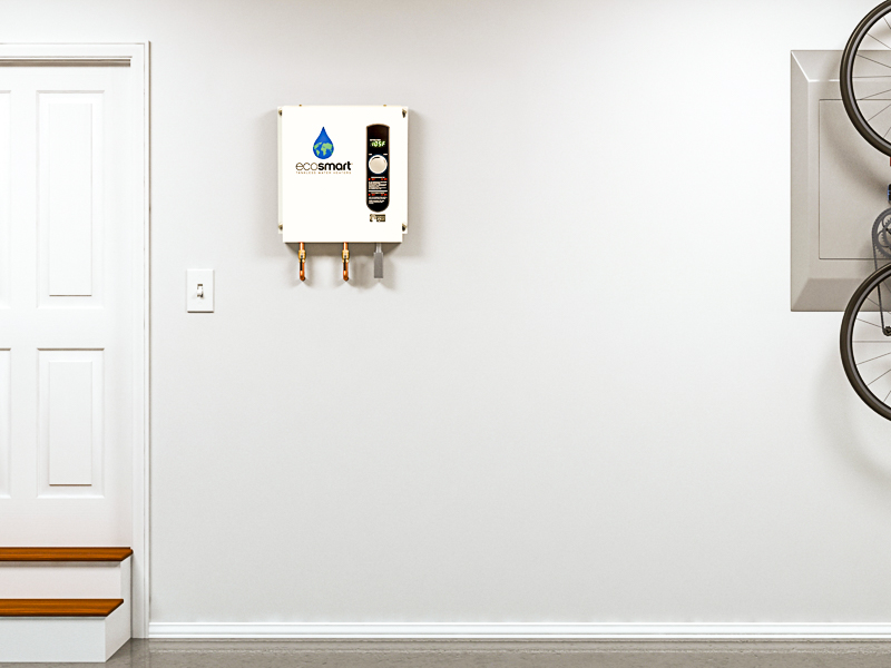 EcoSmart electric tankless water heater on garage wall