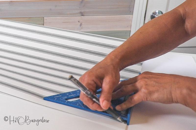 measuring drawer liner to cut