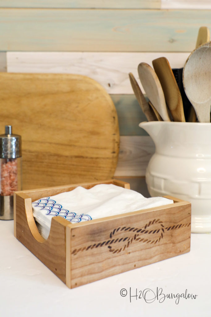 oil finished DIY napkin holder with scorch pen detail