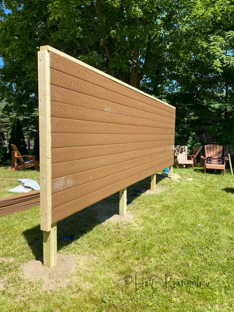 DIY outdoor privacy screen almost complete