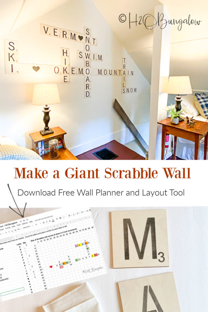Make easy DIY Scrabble wall art for your home with my free scrabble word layout generator tool. See how to make large scrabble tiles quickly and cheap! Easy tips to make and hang scrabble tile word art too #budgetdecorating #scrabblewordart #wordart #h2obungalow
