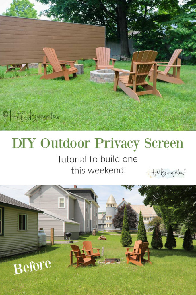 Show how to build a DIY outdoor privacy screen for your backyard with composite boards or wood. Our privacy fence is 6 feet but can be made much taller. #privacy #privacyscreen #backyarddecor