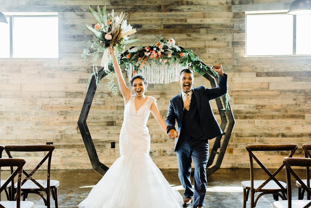 wedding with DIY moon gate arch