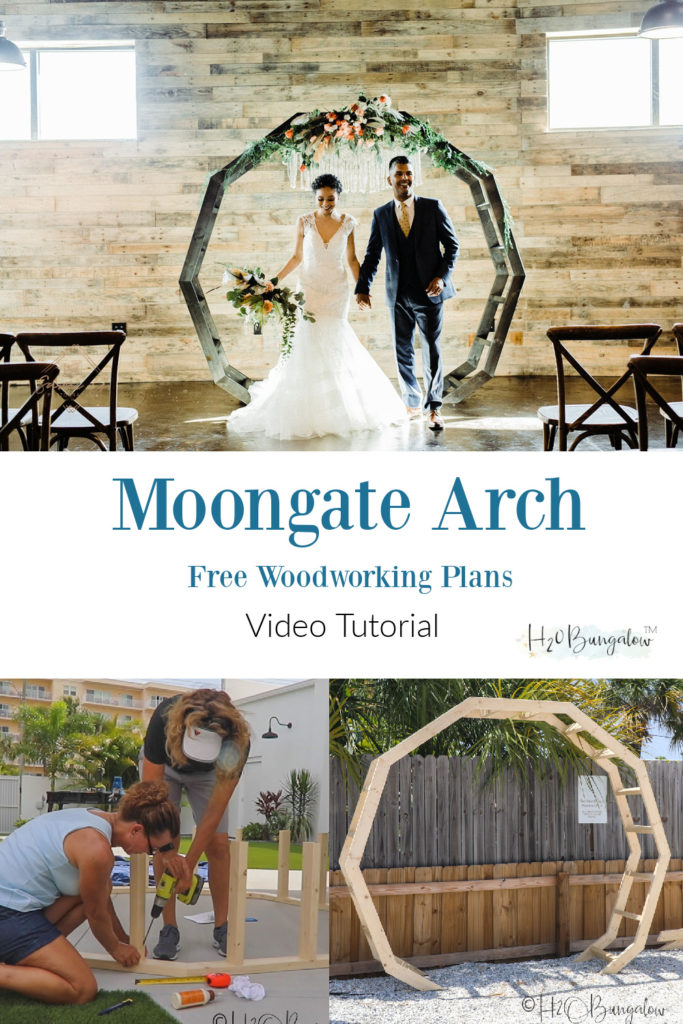 How to make a DIY moon gate arch for wedding or garden. Make trendy wedding decor for less than $50 get the wedding arch plans, watch the video, make the moongate arch! #weddingdecor #backyarddecor #DIYwedding #moongate