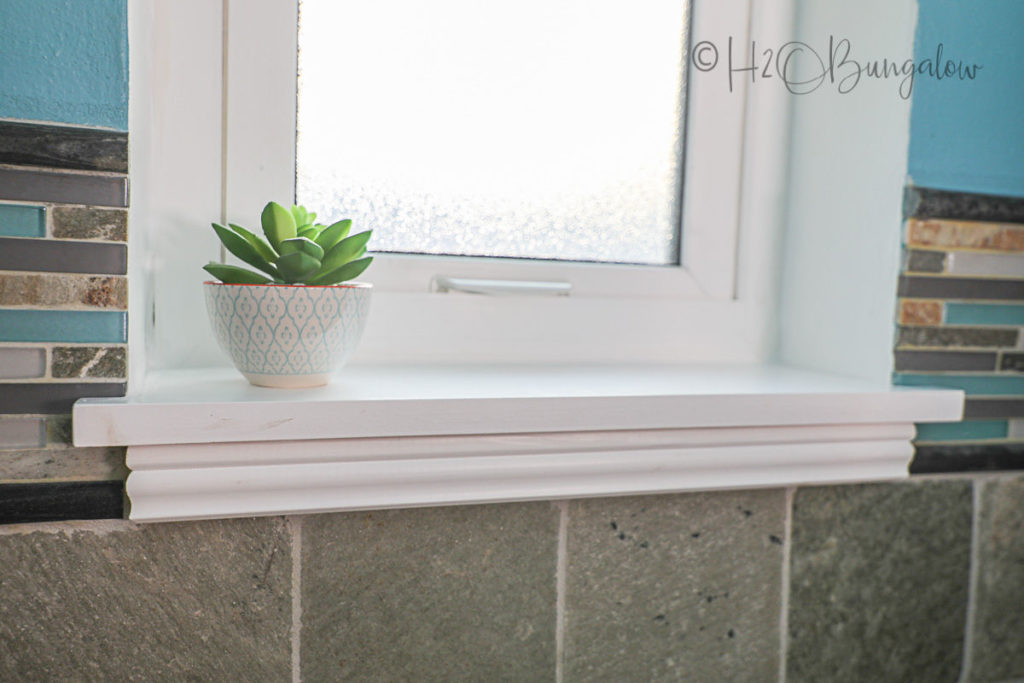 close up picture of DIY window sill
