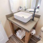 top view of DIY vanity with vessel sink