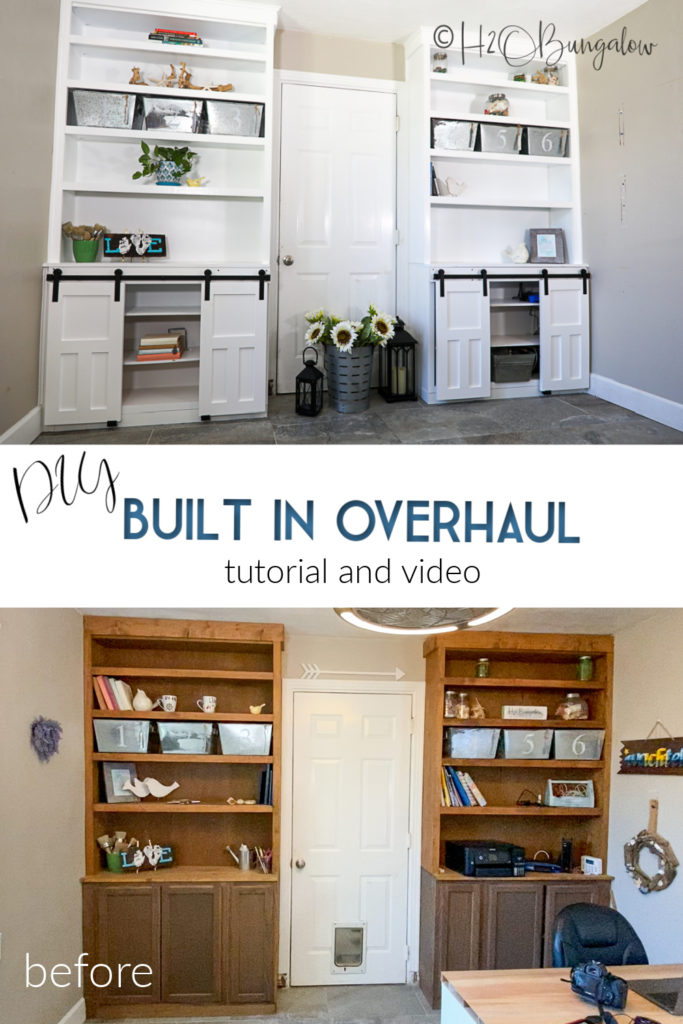 How to update old built ins and cabinets. Makeover built ins with paint, new doors and barn door hardware for cabinets    I'll show how to build shaker cabinet doors and add mini barn door hardware. Redo dated bookcases, built ins and shelves in a weekend! #builtins #woodworking #paintingproject #DIYshakerdoors#homerightsuperfinishmax