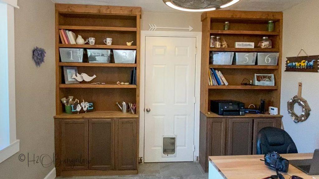 built in shelves before makeover