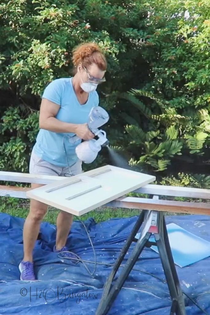 painting new cabinet doors for built in makeover