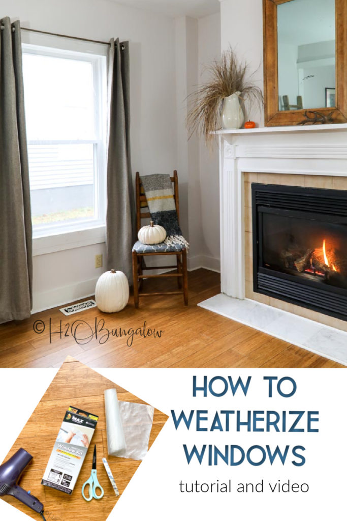 How to weatherize windows and doors using plastic film in 3 easy steps. Simple DIY way to seal cold air and drafts out of windows and doors.