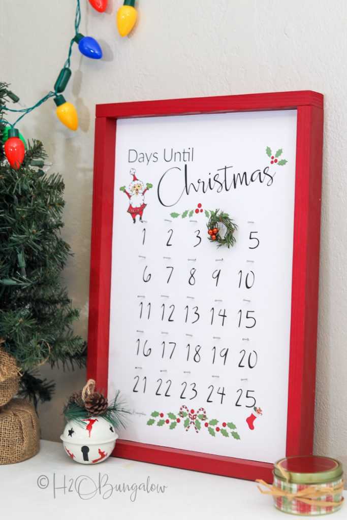 advent Christmas calendar with red frame