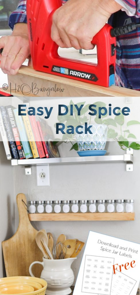 Make this simple modern DIY wood spice rack to fit any size spice jars or wall decor download my free spice jar labels printable. Easy woodworking plans. #woodworkingplans #beginnerwoodworking #H2OBungalow
