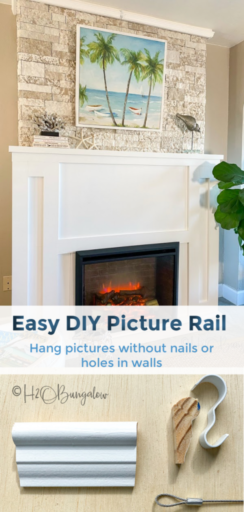 How to make a DIY picture rail and how to hang art on walls, brick or stone without using nails or making holes in walls.  Includes ideas for creative ways to hang pictures. #picturehanging #walldecor