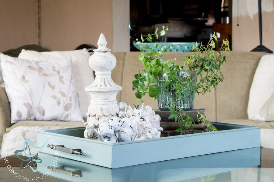 blue serving tray used as a centerpiece