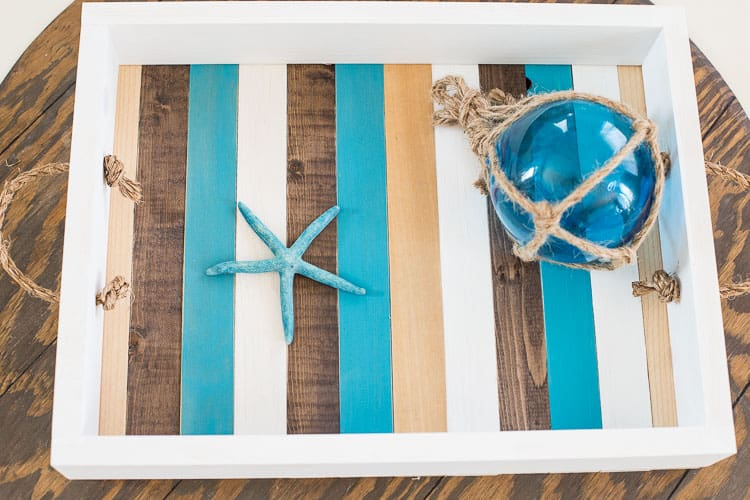 tray with turquoise and wood slats with jute handles