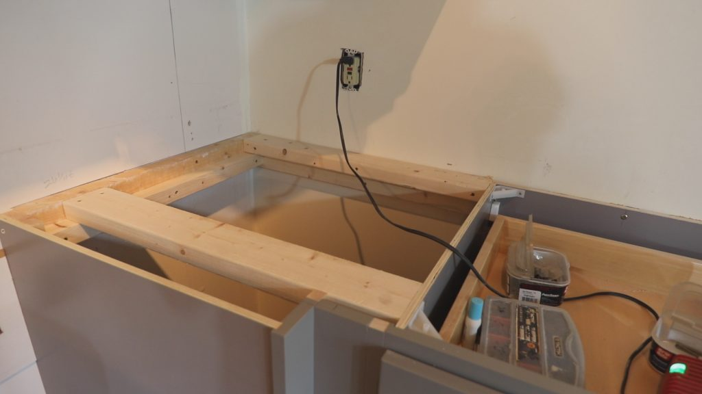 cabinet base before DIY wood  countertop is added