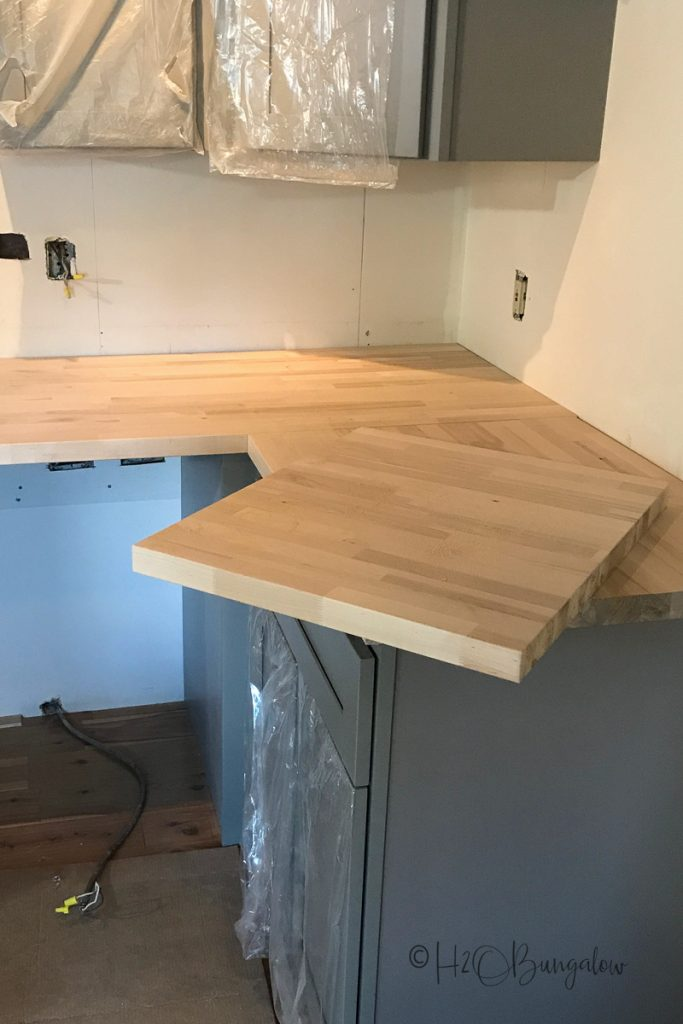 cut pieces of wood countertop