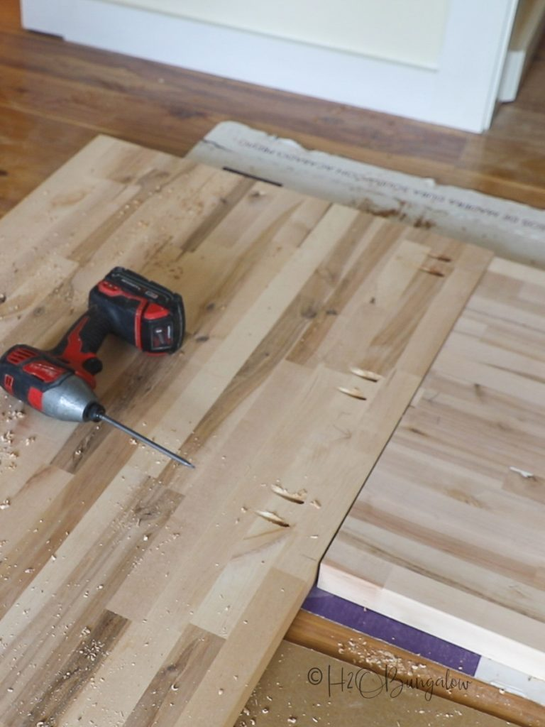 adding pocket holes to the bottom of the DIY wood countertop