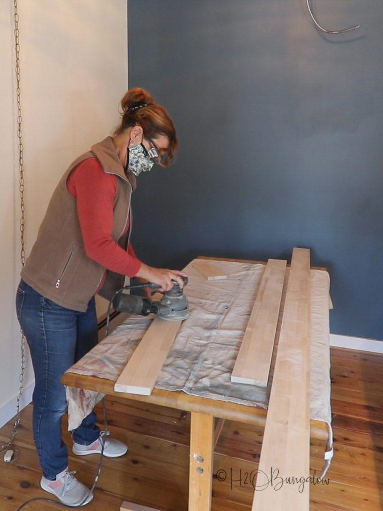 sanding counter backsplashes