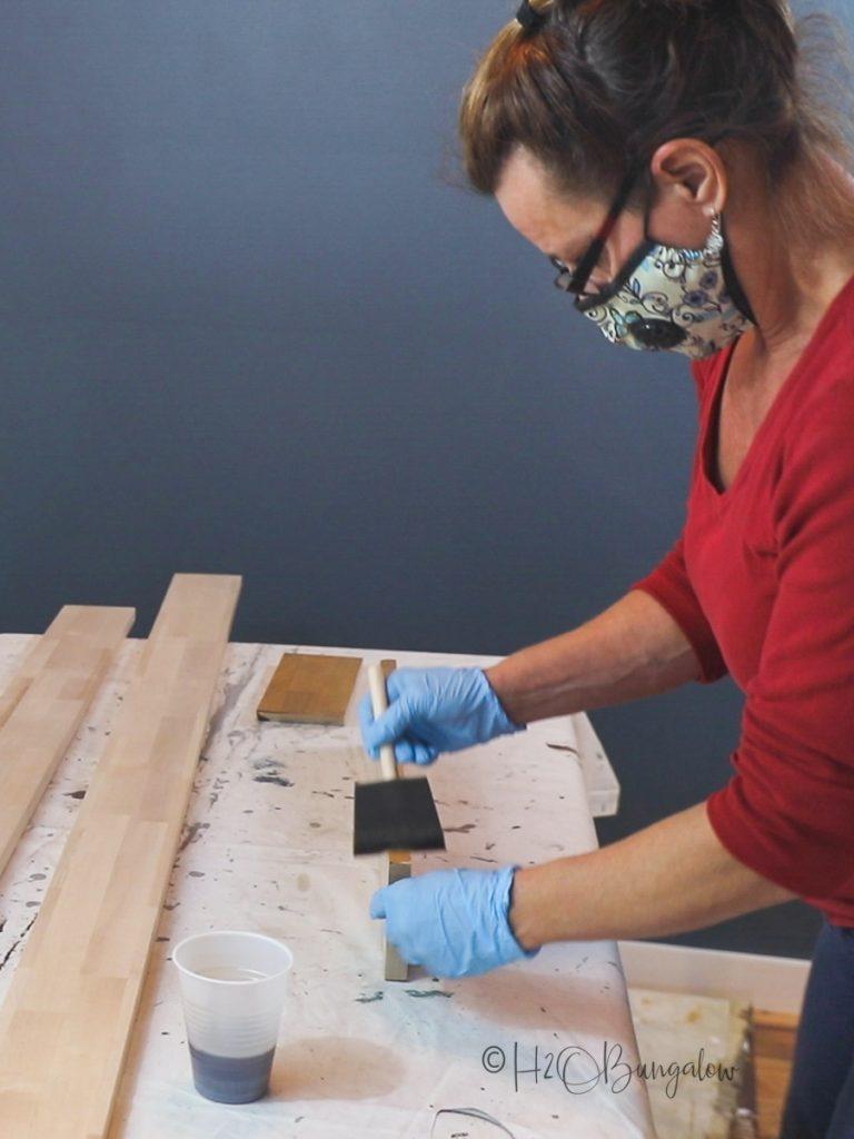 applying finish to DIY wood countertop