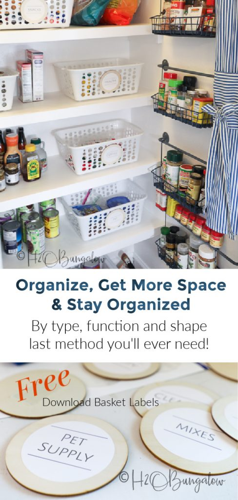 How to organize your pantry and get more space, how to use bins to organize. The best method to keep a pantry clean and organized ever! Grab your free downloadable basket labels and start using these pantry organization tips!  #organize #pantry #kitchentips