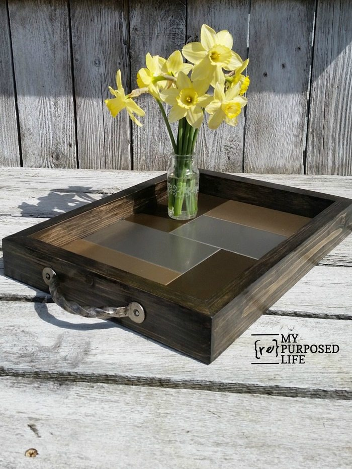 DIY serving tray made with tile inside