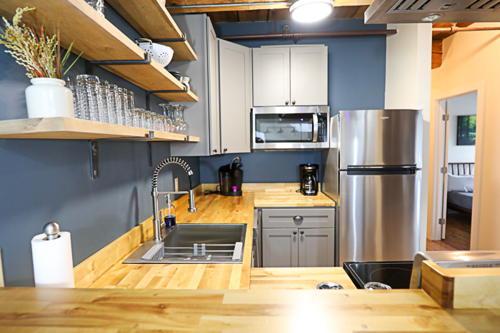 View of DIY wood countertop in kitchen after installation