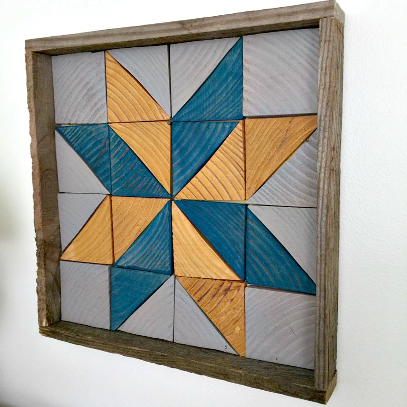 wood tray with blue and yellow star pattern
