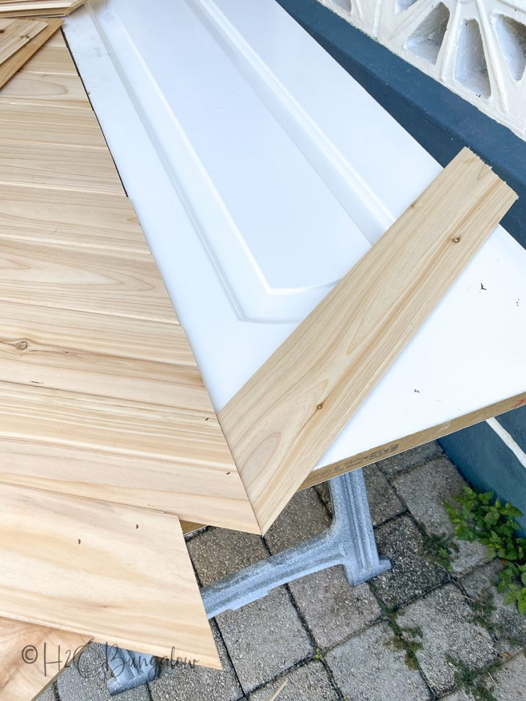 making chevron pattern for hollow core door makeover