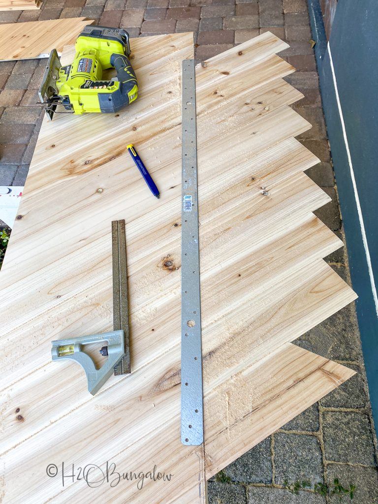 steps to cut wood trim on hollow core door makeover