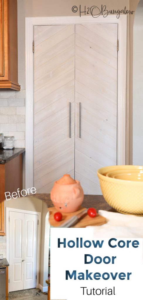 """How to DIY hollow core door makeover on a budget with 1/4"""" wood in a chevron pattern.  It's easy to update a plain door! #door #chevrondoor #doormakeover #H2OBungalow"""