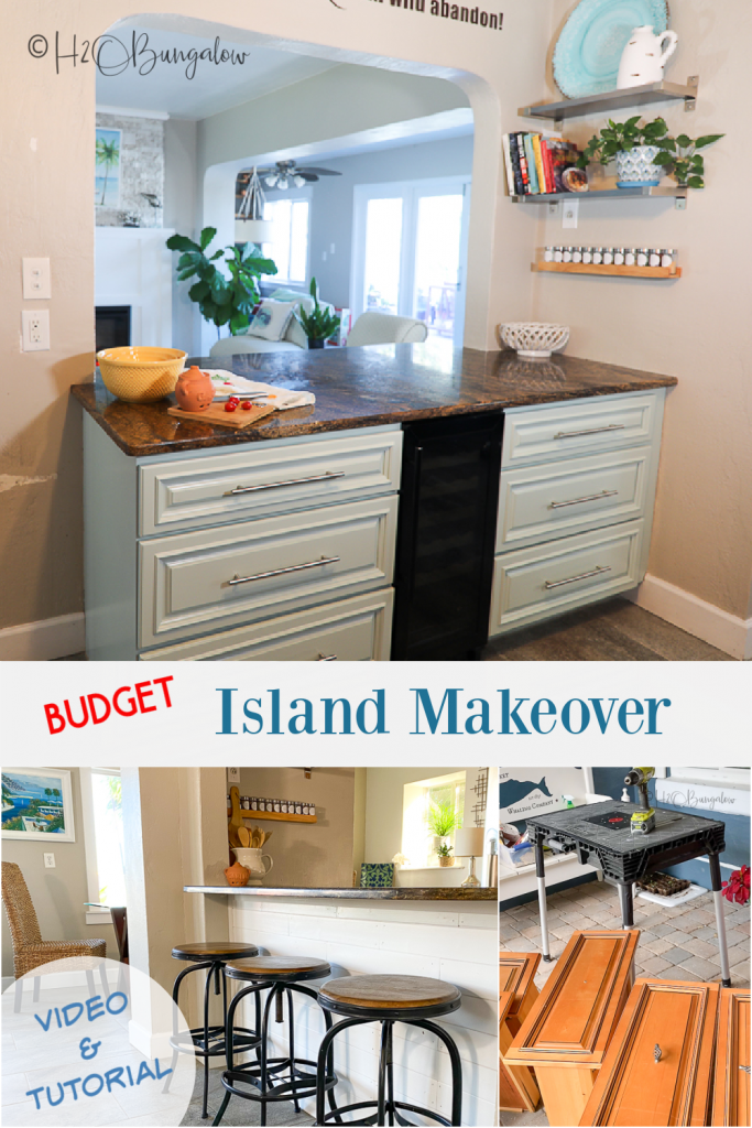 How to makeover a kitchen island: DIY tutorial and video on how to get a brand new look with paint, new trim and trendy hardware on a budget.